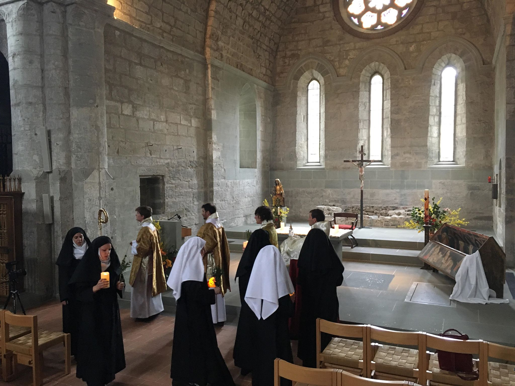 Dress rehearsal at Maigrauge Abbey, Fribourg. Procession following the Harrowing of Hell sequence.